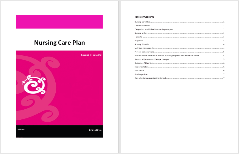 Nursing Care Plan Template - Word Templates for Free Download