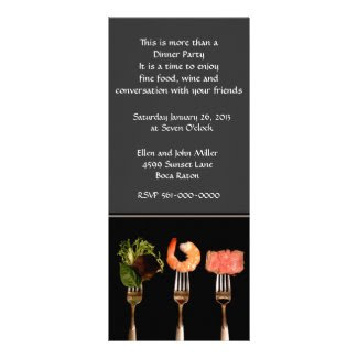Modern Food on Forks Dinner Party Invitation Custom Announcements