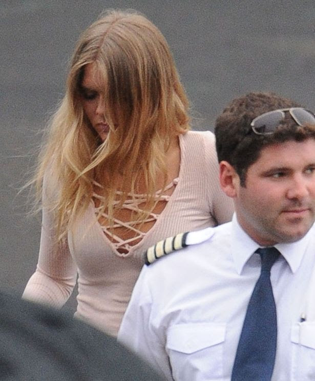Justin Bieber and Bronte Blampied at Battersea Heliport to take a helicopter to V festival