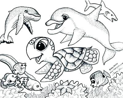 Sea Creature Sea Animals Coloring Pages Mikeandkiraadoption