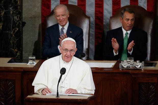 Papa Francisco faz discurso no Congresso dos EUA (Foto: Carolyn Kaster/AP)