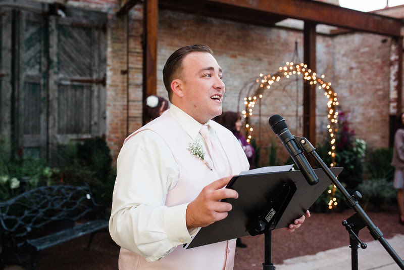 Photos of Audrey and Matt's chic Wedding Ceremony at Blumen Gardens in Sycamore Illinois for a late summer wedding.