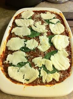 Lasagna in Corning Ware Roasting Pan