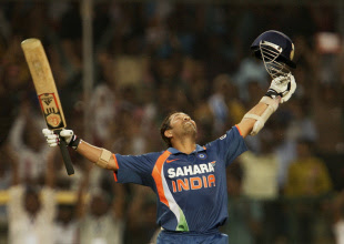 Sachin Tendulkar collared South Africa's attack on his way to a historic unbeaten 200 as India amassed 401 in the second ODI in Gwalior