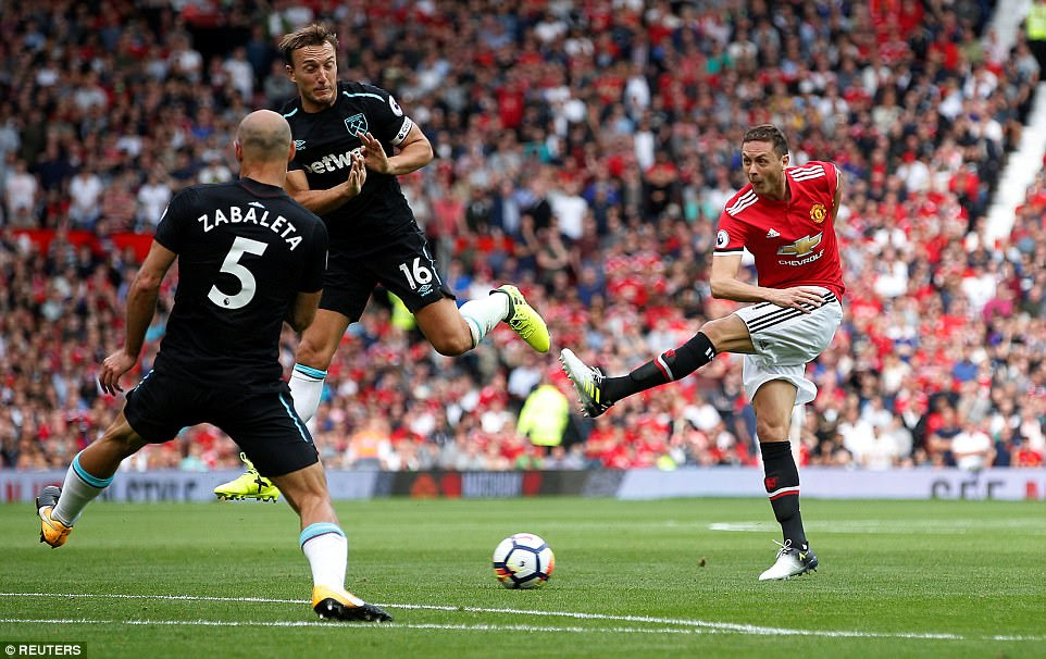 Matic tries a shot from outside the West Ham penalty box with Mark Noble and Pablo Zabaleta there to try and block it