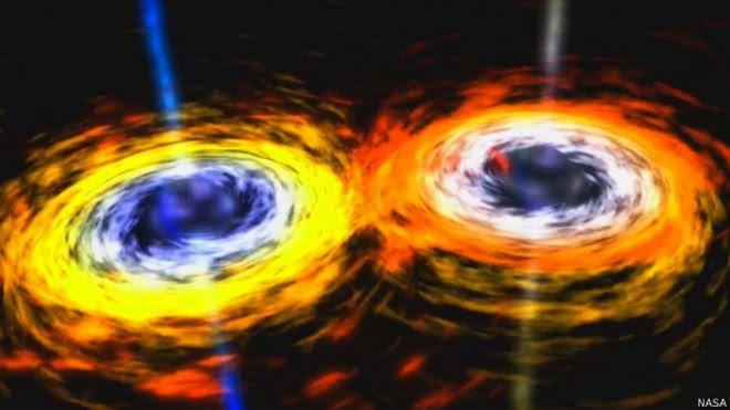 Ilustración de colisión de dos agujeros negros