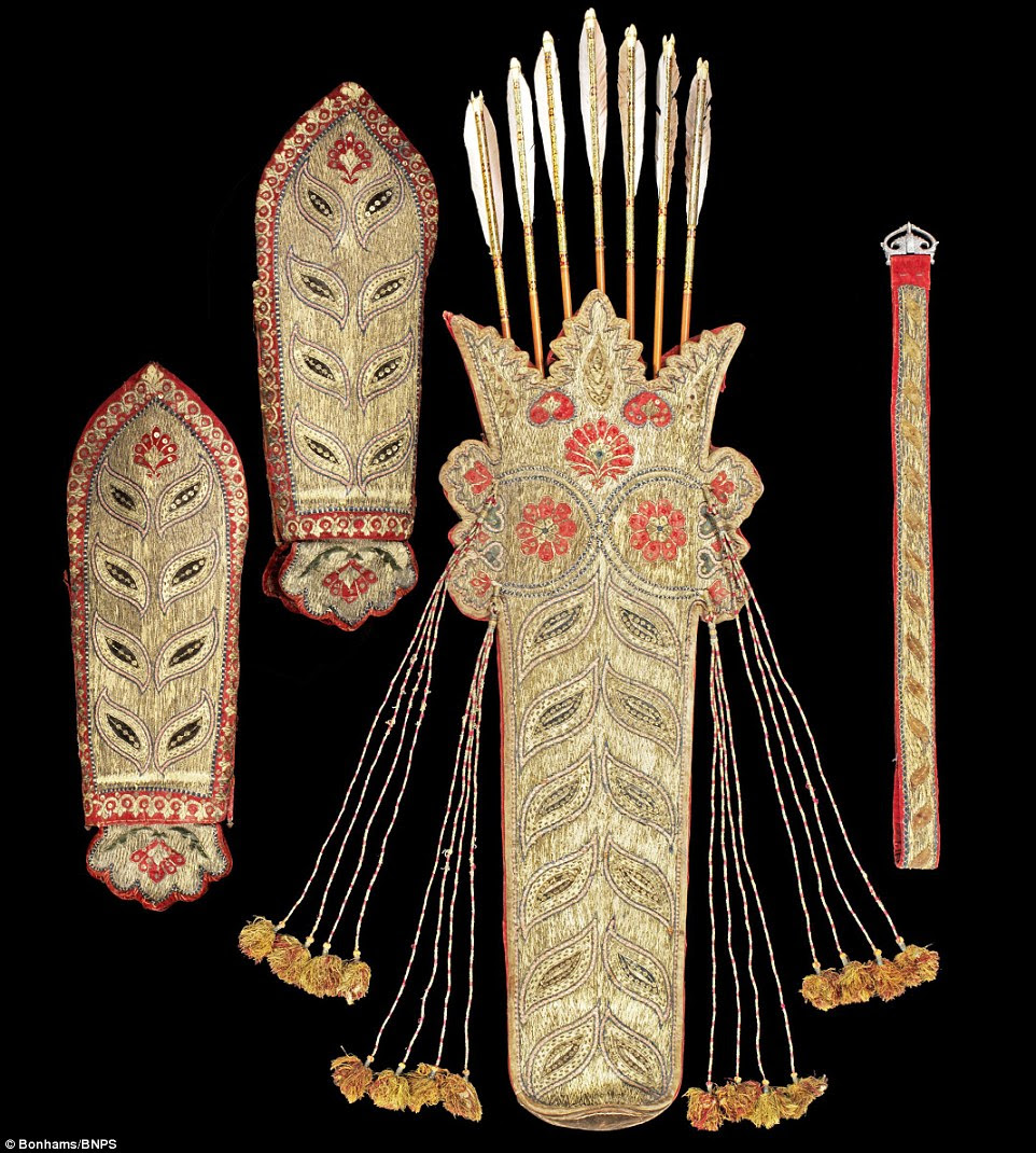 A golden age: This embroidered quiver and arm guards, belt and seven decorated arrows, made for Tipu, is expected to sell for £60,000