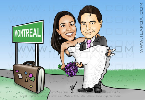 Caricatura noivos, colorido, corpo inteiro, noivo segurando noiva no colo, mudança Montreal, noivinhos Laura e Marcelo, caricatura para casamento,  by ila fox