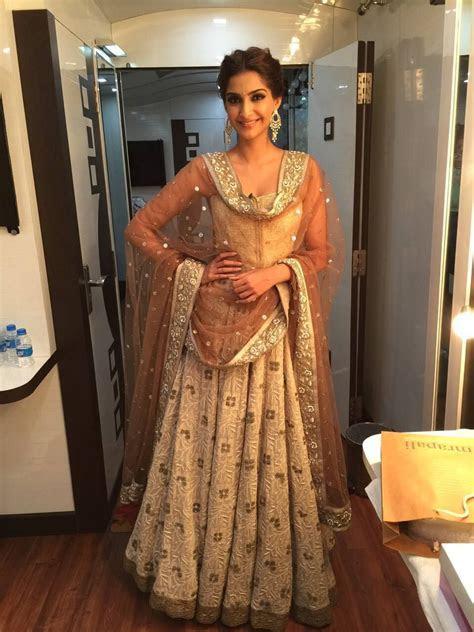 Sonam Kapoor In A Beige Kotwari Chikan #Lehenga.   Desi