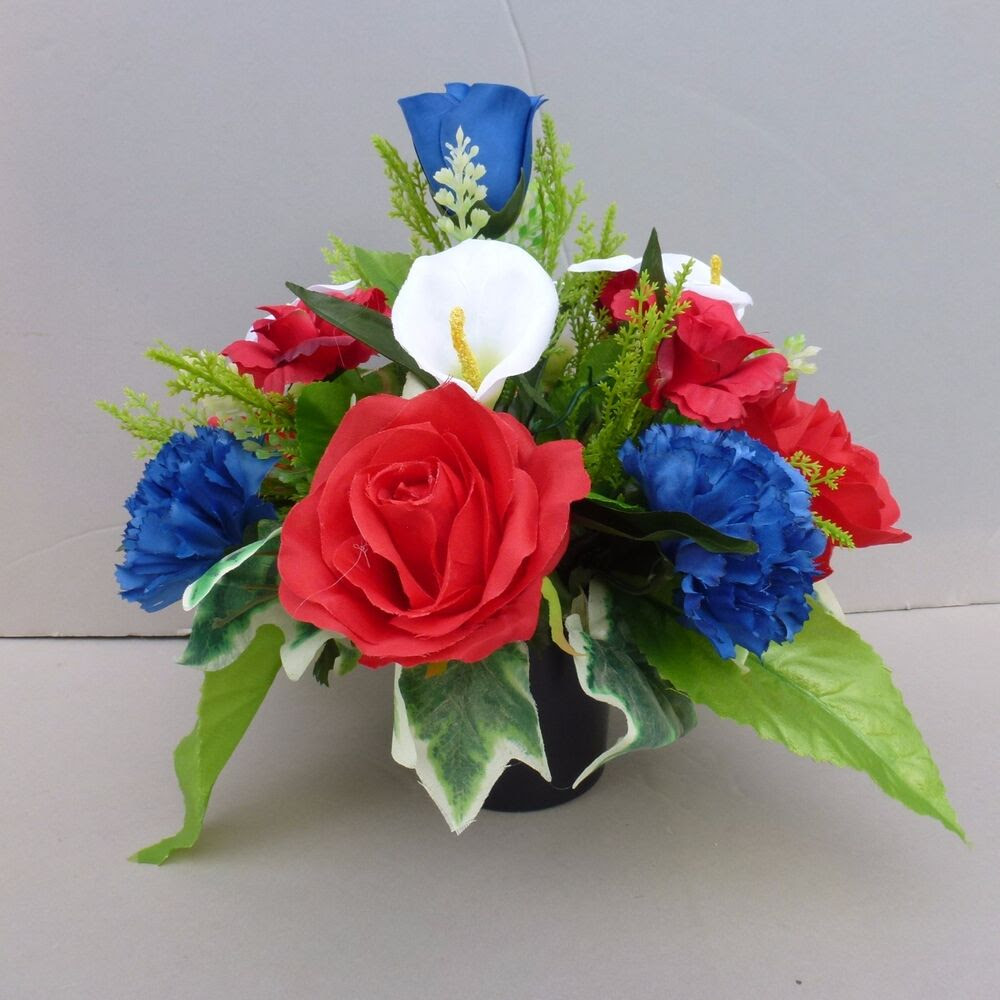 Artificial Flower Arrangement Red \/Royal Blue In Pot For Grave\/Memorial Vase04  eBay