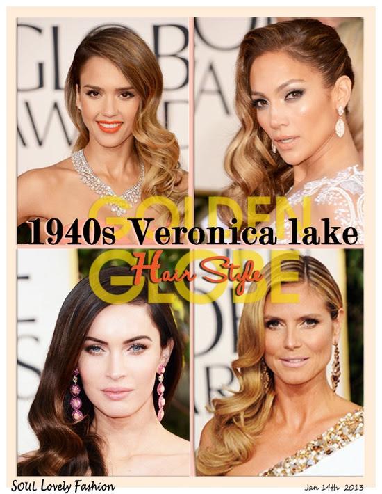 The Most  Elegant Hair Style in The Golden Globes 2013   Jessica Alba, Jennifer Lopez , Megan Fox & Heidi Klum all these glamorous ladies wore 1940s Veronica lake #Hair Style in the Golden Globes 2013.