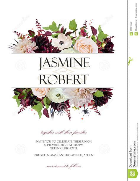 Wedding Invitation Invite Card Design: Rose Anemone Dahlia