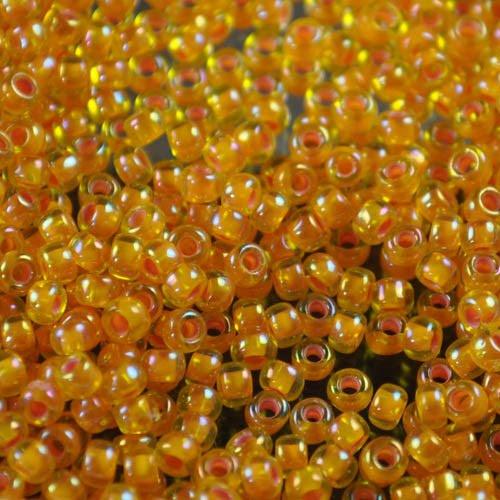 tb8r1827 Japanese Seedbeads - 8/0 Toho Seedbeads - Inside-Color Pumpkin/Topaz Rainbow