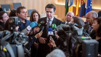 Soria atén els mitjans de comunicació després de la signatura d'un conveni a Lanzarote (EFE)