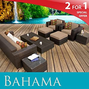 in087: $Buy BAHAMA OUTDOOR WICKER PATIO 8 PIECE SET TAUPE FREE ...