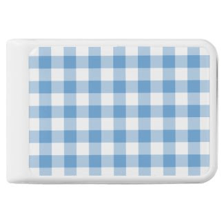 Light Blue and White Gingham Pattern Power Bank