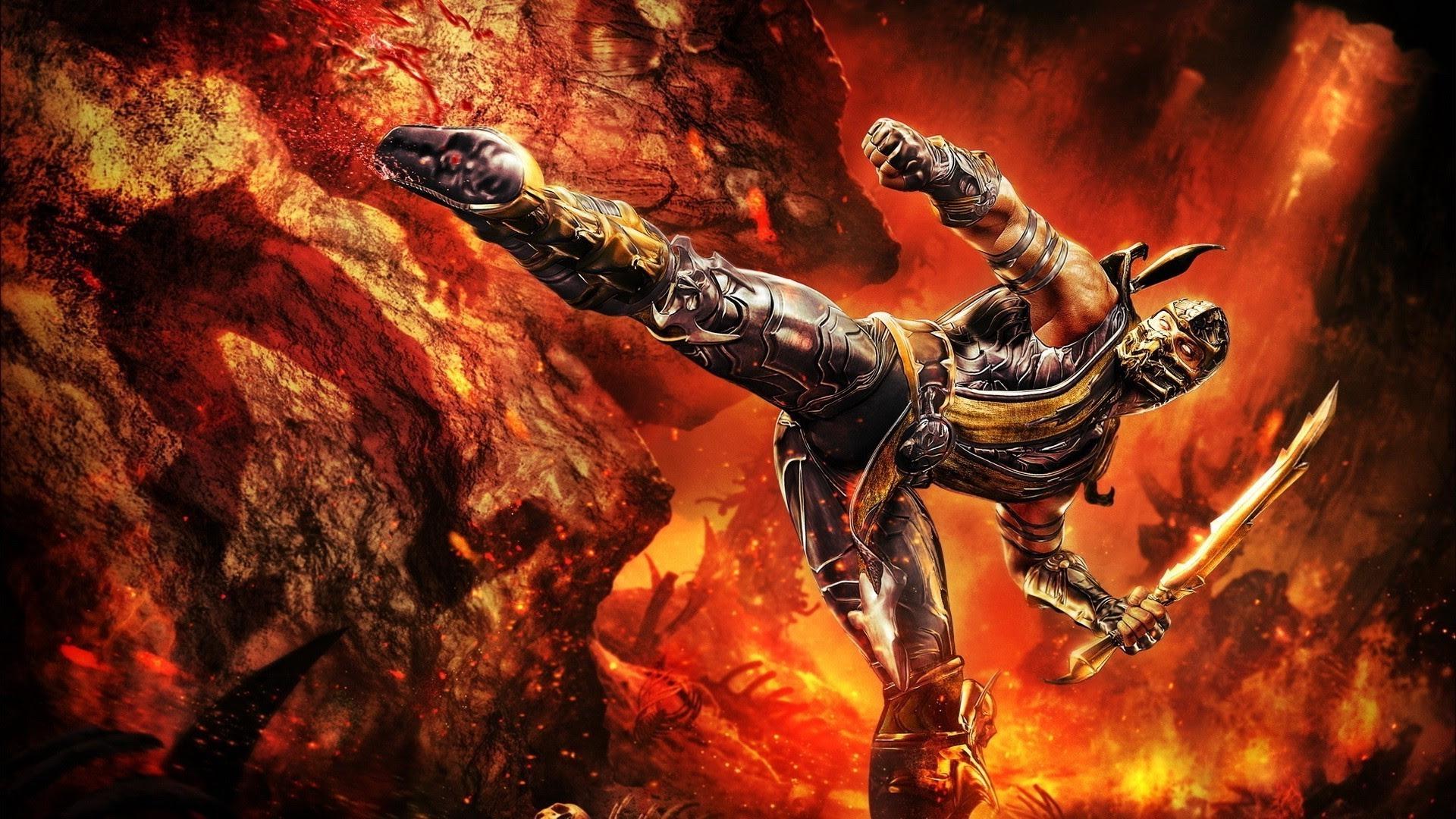 Warrior Mortal Kombat Artwork Video Games Fantasy Art Digital Art Chains Scorpion Wallpaper And