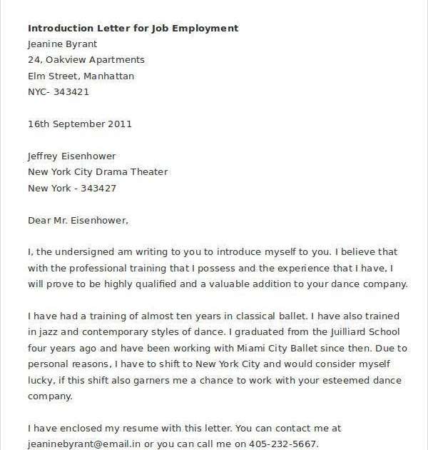What Is A Letter Of Introduction Job Application Job Retro
