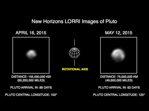 Two images of Pluto that were taken with the Long-Range Reconnaissance Imager aboard NASA's New Horizons spacecraft on April 16 and May 12, 2015, respectively.