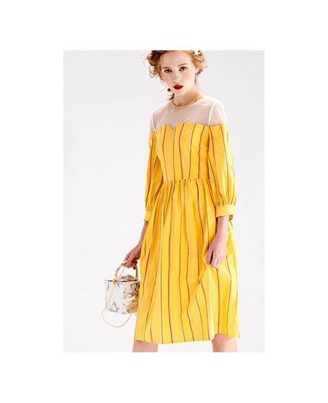 Yellow Stripe Knee Length Wedding Guest Dress With 3/4