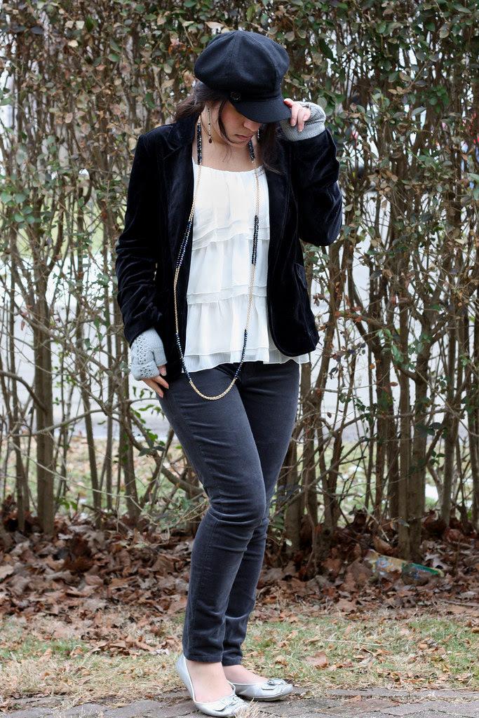 Velvet Blazer, Ruffle top, Skinny Cords