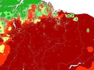 Pontos em vermelho são de risco crítico para o fogo (Foto: Divulgação/Inpe)