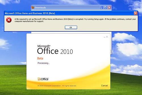 ms office 2010 error