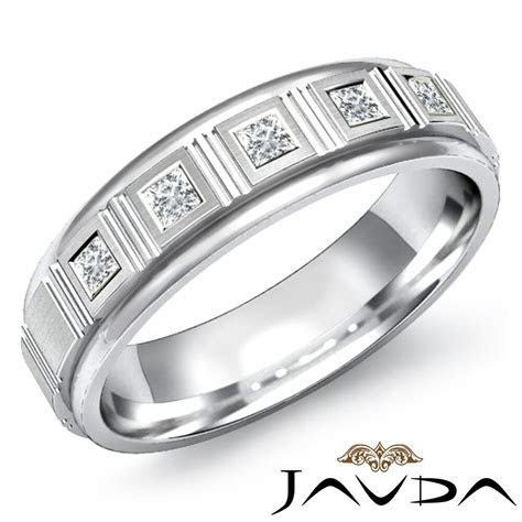 Princess Cut Bezel Diamond 5 Stone Mens Half Wedding Band