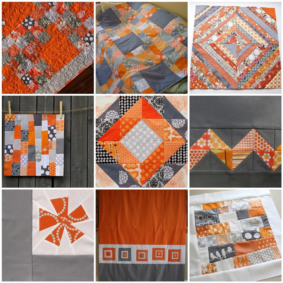 Gray, Orange, & White mosaic for 4X5 Modern Quilt Bee