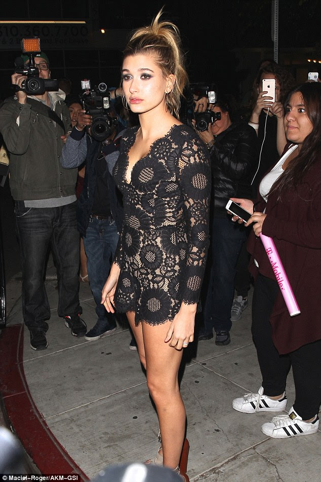 On display: Hailey Baldwin was already showing off a lot when she attended the AMAs after party at The Nice Guy in West Hollywood on Sunday