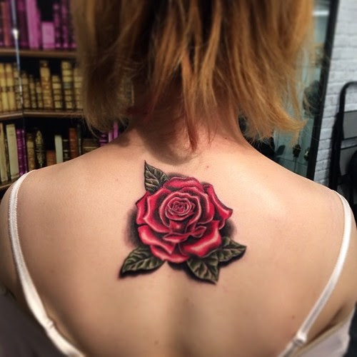 Red Rose Tattoo On Upperback