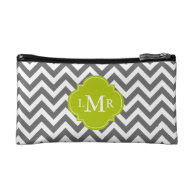 Gray and Green Zigzags Monogram Cosmetic Bags