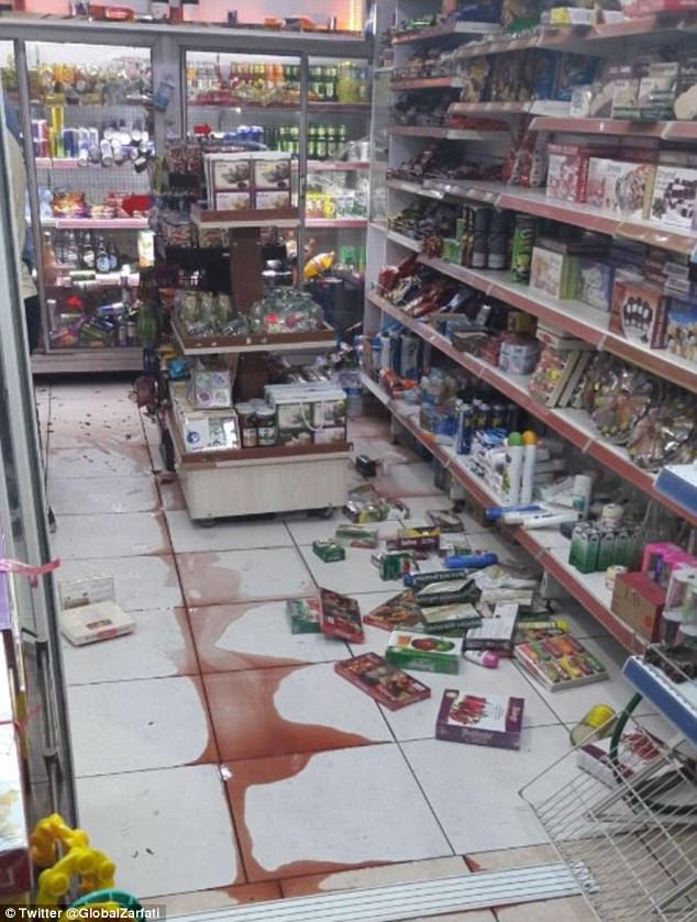 The 'violent' earthquake saw goods inside this supermarket come crashing to the floor