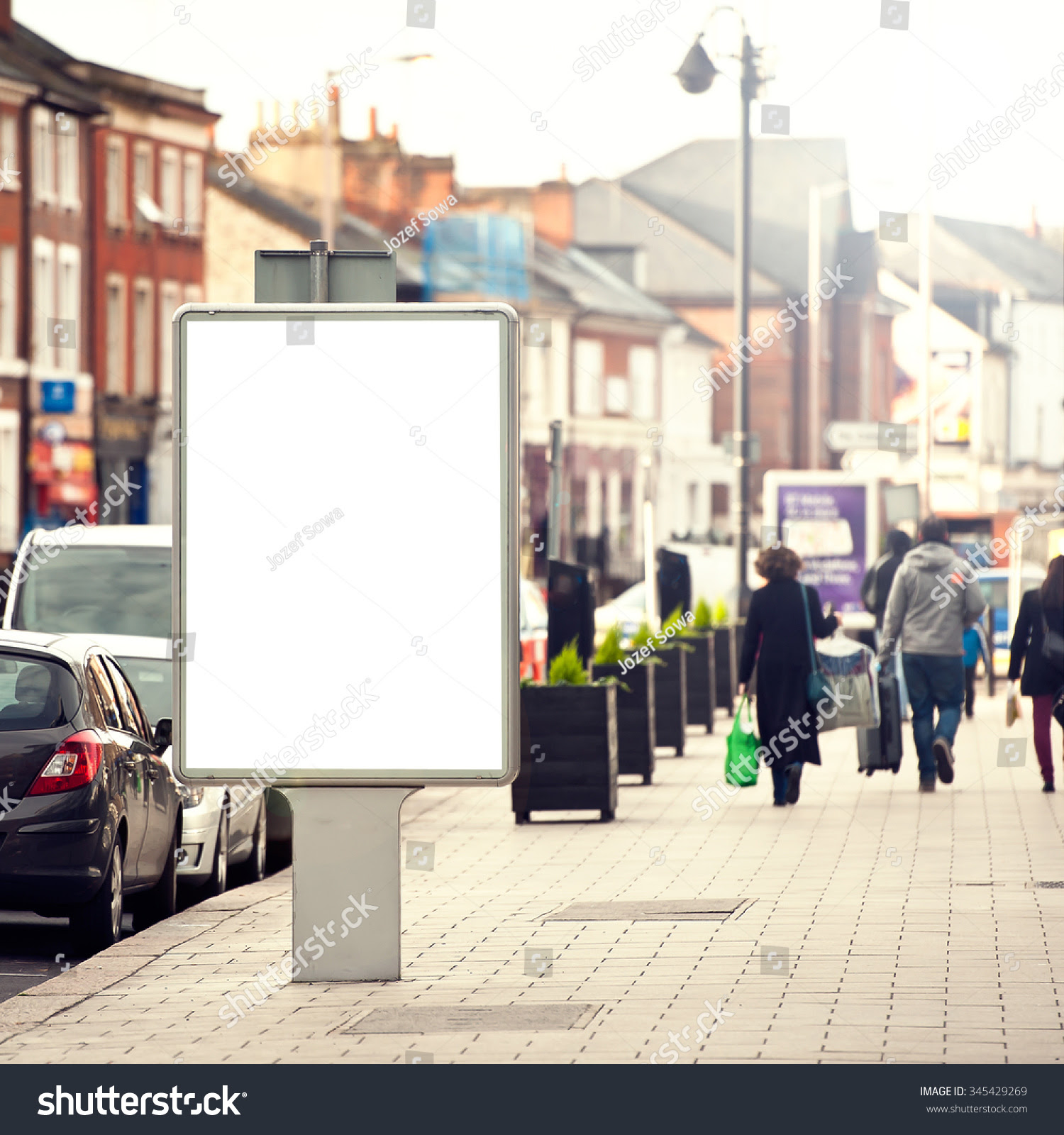 Vertical Isolated Blank Billboard On City Stock Photo 345429269 ...