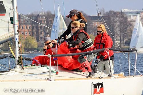 J/24 women's sailing team- on Alster Lake, Hamburg, Germany