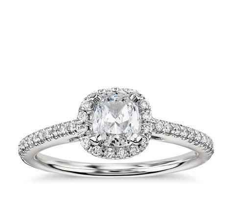 Cushion Cut Halo Diamond Engagement Ring in Platinum (1/4