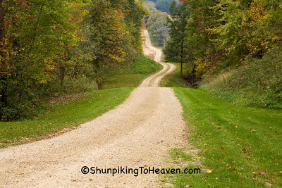 Autumn Gravel Road Scene, Sauk County, Wisconsin