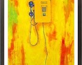 Yellow Telephone - Acrylic Painting