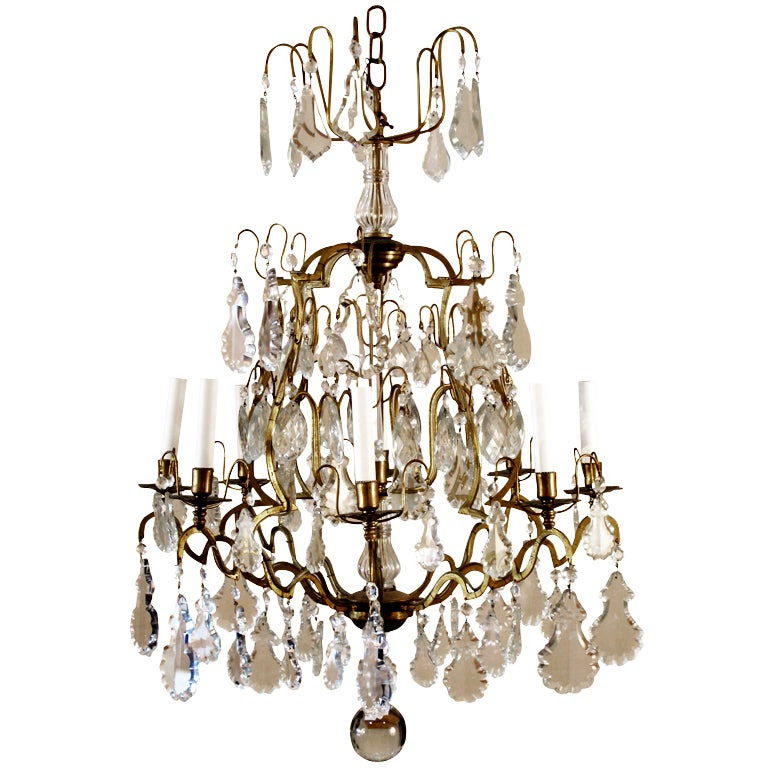 French Vintage Crystal and Brass Eight Light Chandelier at 1stdibs