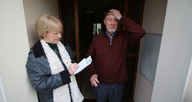 Fianna Fáil candidate Mary Hanafin canvasses resident Frank McGee  in the Park area of Cabinteely, in the Dún Laoghaire-Rathdown constituency. Photograph:  Nick Bradshaw
