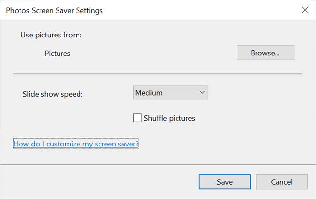 Elija las imágenes de protector de pantalla que se muestran y los detalles de la presentación de diapositivas
