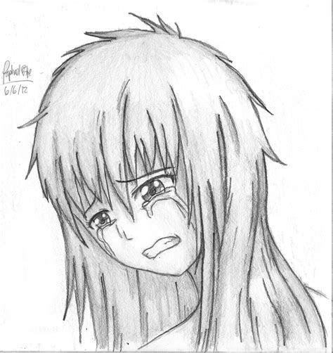 sad anime girl crying drawing   wildwolf  deviantart