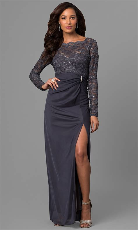 Gunmetal Wedding Guest Dress with Lace PromGirl