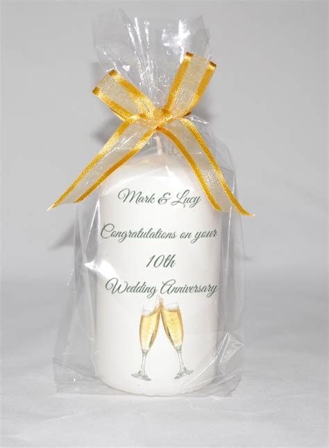 Happy wedding anniversary candle in white or Ivory