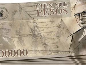 Billete de 100 mil en Colombia.