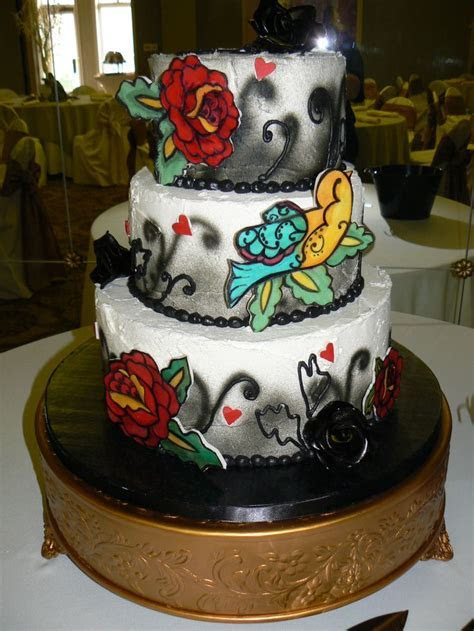 Tattoo themed Wedding Cake   CakeArt Weddings by Margi