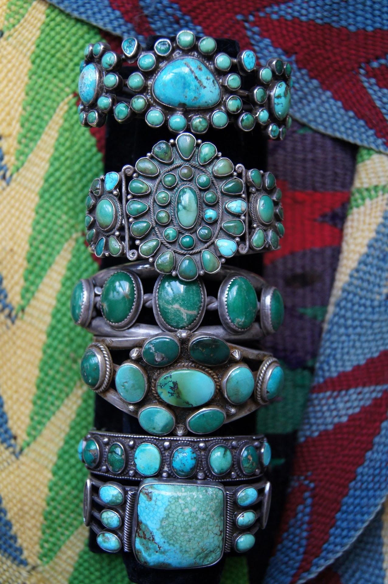 uchizonogallery:  Antique and Vintage Turquoise Bracelets From Uchizono Gallery.