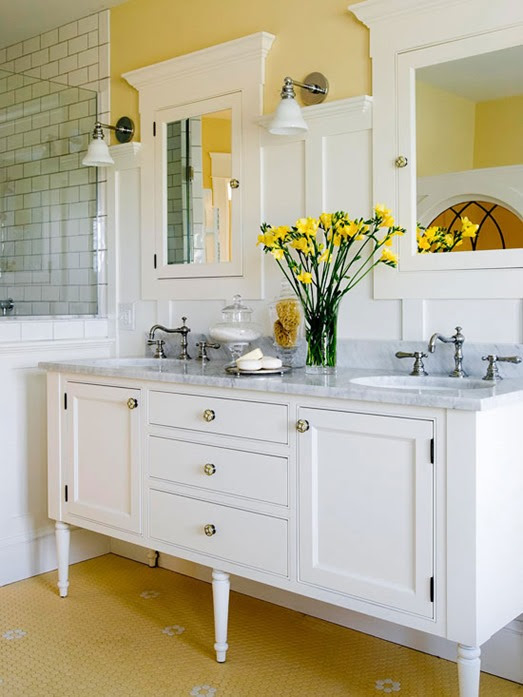 yellow paint in bathroom bhg