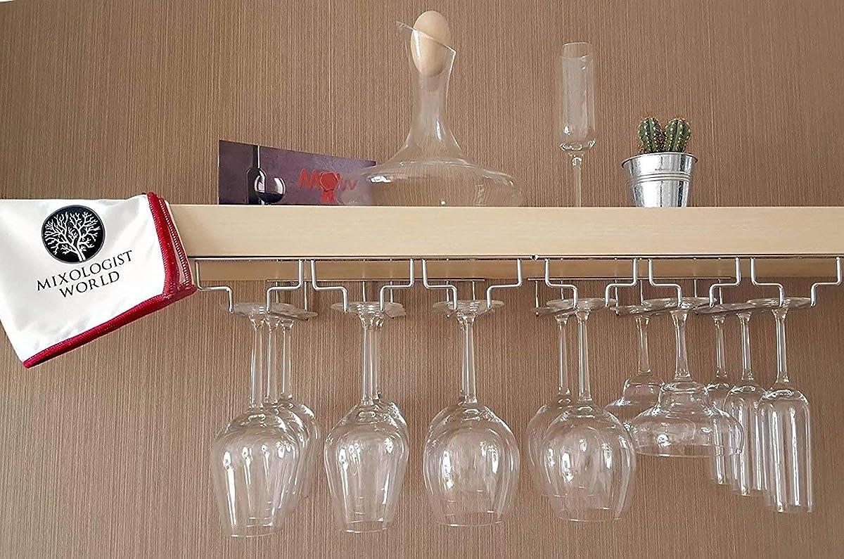 Mixologist World Wine Glass Rack Under Cabinet Hanging Wine Racks