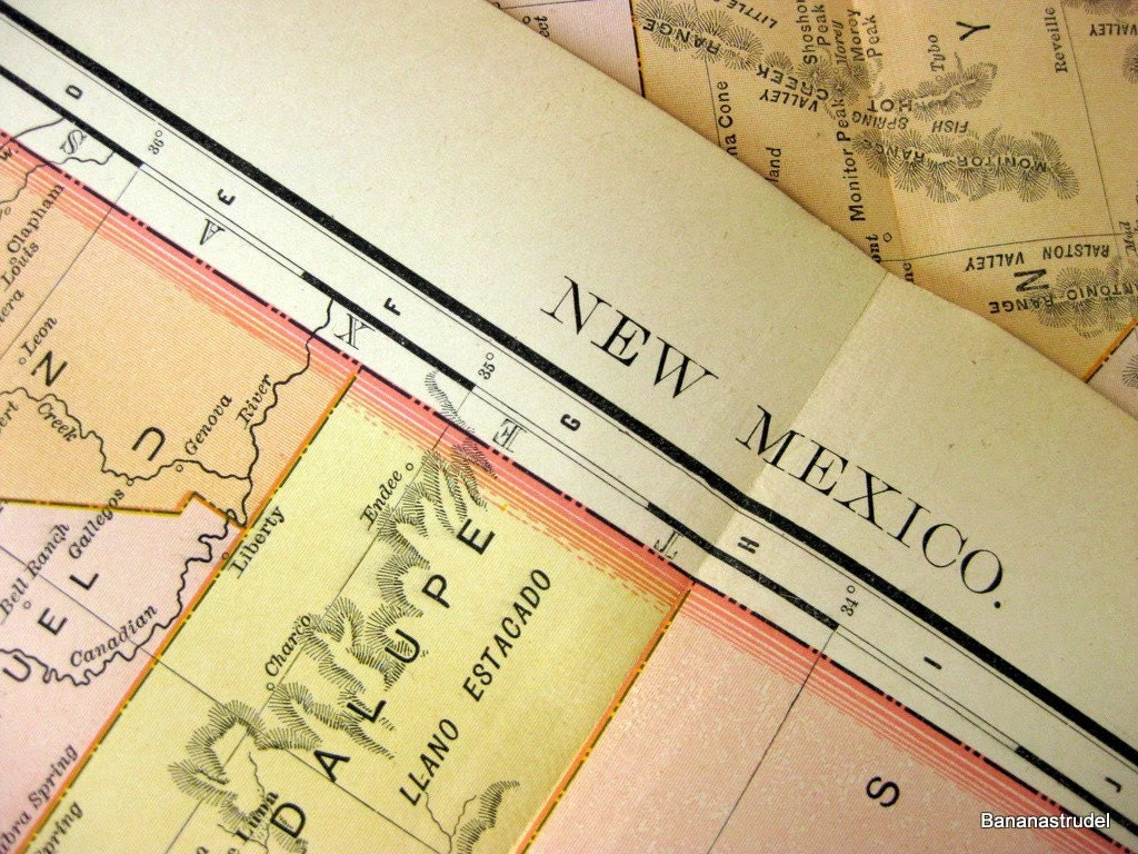 1895 Antique Map of New Mexico